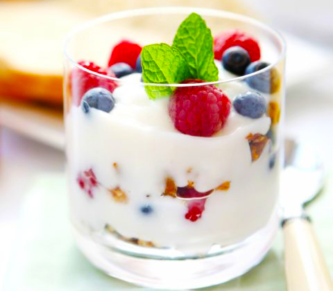 Greek yogurt with seeds berries and wheat germ