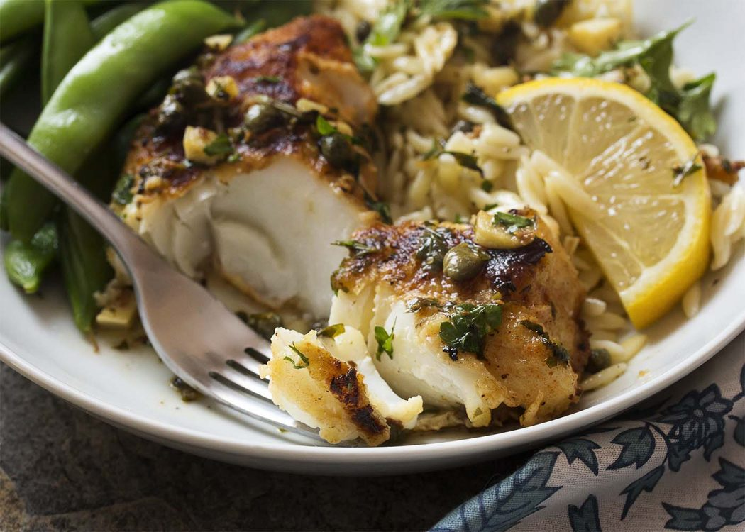 Low Carb Recipes - Skillet Cod with Lemon and Capers