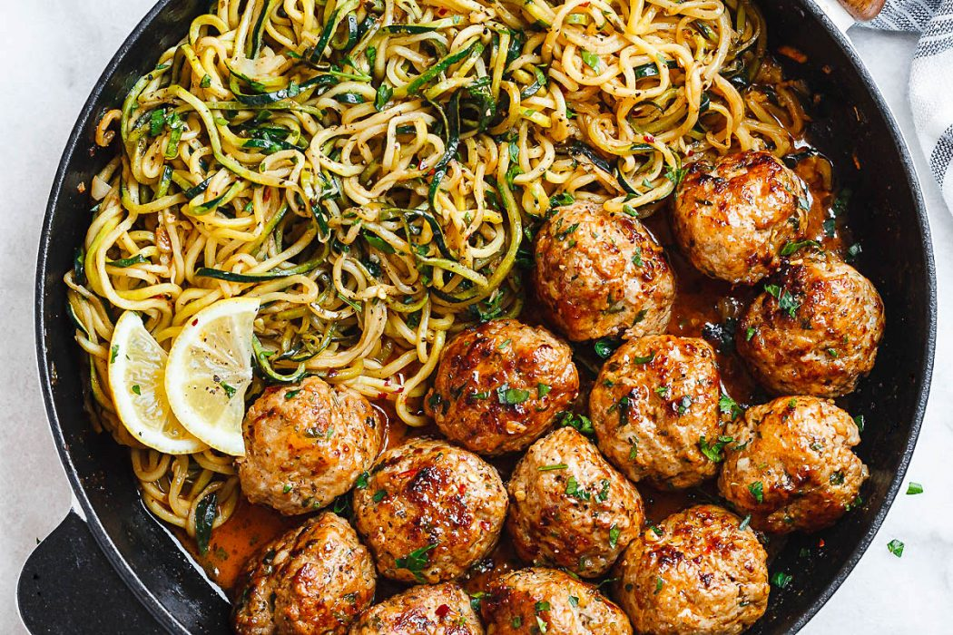 Low Carb Recipes - Turkey Meatballs with Zucchini Noodles
