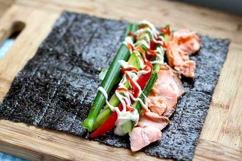 Salmon & Avocado Nori Rolls - Keto Lunch Ideas for Work Easy & Cheap Keto Meal Ideas On The Go