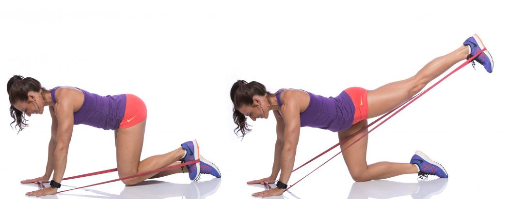 Banded donkey kicks - How to Get Hips and Curves