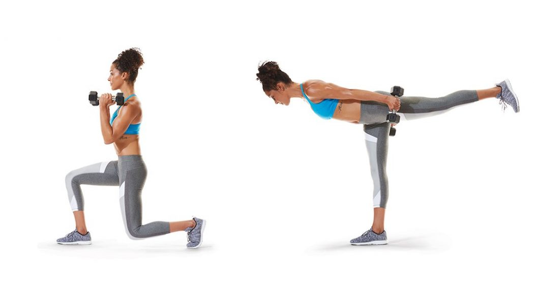 Standing Kickback Lunges - How to Get Rid of Hip Dips